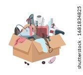 messy box with useless broken...   Shutterstock .eps vector #1681834825