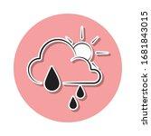 partial rain sign sticker icon. ...