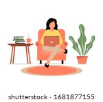 a girl sits in a armchair and... | Shutterstock .eps vector #1681877155