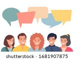 people avatars with speach... | Shutterstock .eps vector #1681907875