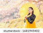 Korean Girl Wearing A Hanbok...