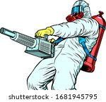 disinfection suit protection... | Shutterstock .eps vector #1681945795