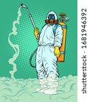 disinfection suit protection... | Shutterstock .eps vector #1681946392