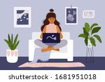 stay and work from home concept.... | Shutterstock .eps vector #1681951018