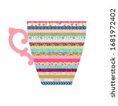illustration with a tea cup....   Shutterstock .eps vector #1681972402