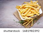 French Fries  Chips On Wood...