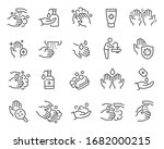 washing hands and hygiene icons ... | Shutterstock .eps vector #1682000215