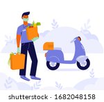 young man  courier or volunteer ... | Shutterstock .eps vector #1682048158