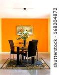 dining room on orange wall... | Shutterstock . vector #168204872