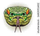 The Venomous Green Snake's Head ...