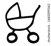 black and white stroller doodle ... | Shutterstock .eps vector #1682099362