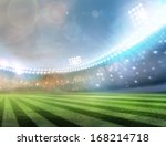 stadium lights at night  | Shutterstock . vector #168214718