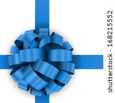 christmas present blue bow...