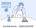 a man to use of cleaning wipes... | Shutterstock .eps vector #1682163298
