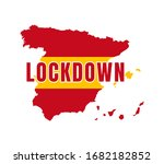 spain lock down with map shape... | Shutterstock .eps vector #1682182852
