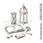 islamic sketch. quran book ...   Shutterstock .eps vector #1682258128