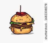 burger isolated hand drawn... | Shutterstock .eps vector #1682338078