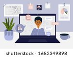stay and work from home. comfy... | Shutterstock .eps vector #1682349898