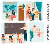 tutor working with children ... | Shutterstock .eps vector #1682368735