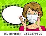 pop art female face in medical...   Shutterstock .eps vector #1682379502