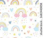 cute rainbows  smiling clouds ... | Shutterstock .eps vector #1682440858