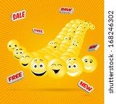 flying smileys on orange...   Shutterstock .eps vector #168246302
