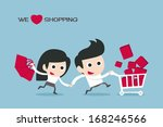 couple enjoy shopping  vector | Shutterstock .eps vector #168246566