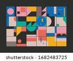 bauhaus composition artwork... | Shutterstock .eps vector #1682483725