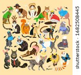 21 cats dressed in  costumes.... | Shutterstock .eps vector #1682508445