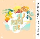 summer floral design. poster... | Shutterstock .eps vector #1682558305