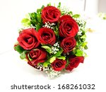 Stock photo bouquet of red roses 168261032