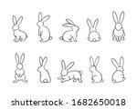 bunny outline vector set ...   Shutterstock .eps vector #1682650018