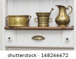white wooden shelf with vintage objects - stock photo