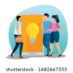 scene of coworking with people... | Shutterstock .eps vector #1682667355