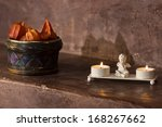 Interior at a romantic restaurant with candles - stock photo