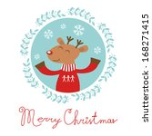 christmas card with happy deer... | Shutterstock .eps vector #168271415