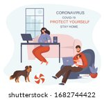 stay home work home.protect... | Shutterstock .eps vector #1682744422