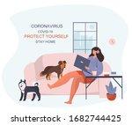 i stay home coronavirus.protect ... | Shutterstock .eps vector #1682744425
