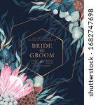 vintage wedding card with...   Shutterstock .eps vector #1682747698