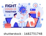 fight covid 2019 together ... | Shutterstock .eps vector #1682751748