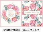 vector wedding invitation with...   Shutterstock .eps vector #1682753575