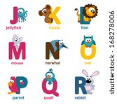 alphabet animals from j to r  ... | Shutterstock .eps vector #168278006