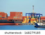 container stack and ship under... | Shutterstock . vector #168279185