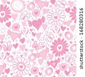 Vector Valentine's Day hearts seamless pattern background with hand drawn elements - stock vector