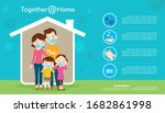 family stay at home wearing... | Shutterstock .eps vector #1682861998
