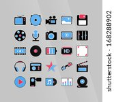 software media icons set in... | Shutterstock .eps vector #168288902