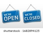 open and closed blue sign with... | Shutterstock .eps vector #1682894125