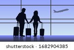 couple standing in airport with ... | Shutterstock .eps vector #1682904385