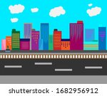 empty city illustrations  road... | Shutterstock .eps vector #1682956912