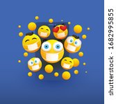 various yellow emoticons... | Shutterstock .eps vector #1682995855